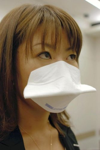 Face mask that sticks to your face. photo by Yomiuri Newspaper