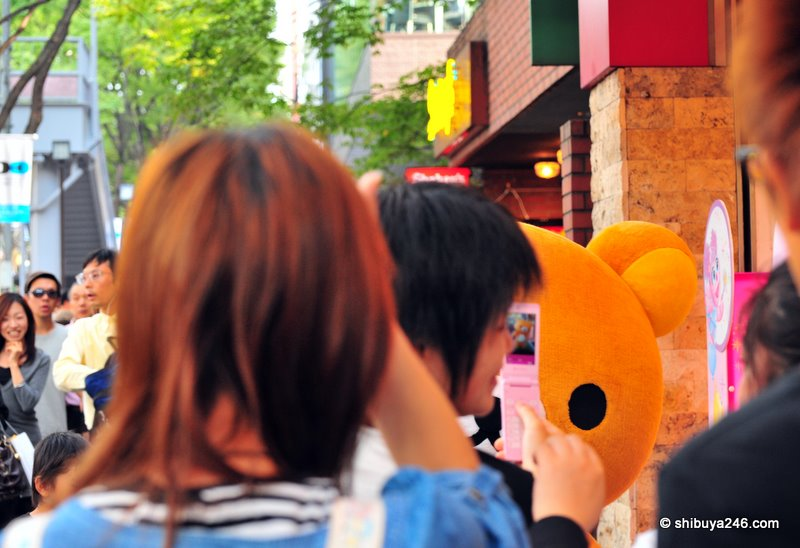 Everybody crowds in to get photos of Rilakkuma. Popularity plus