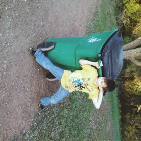 Abel helping with the trash in style ;)