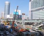 新横浜駅前の環状2号線で行われている相鉄・東急直通線の駅建設工事