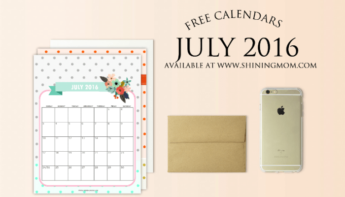 Free Printable Calendars for July 2016