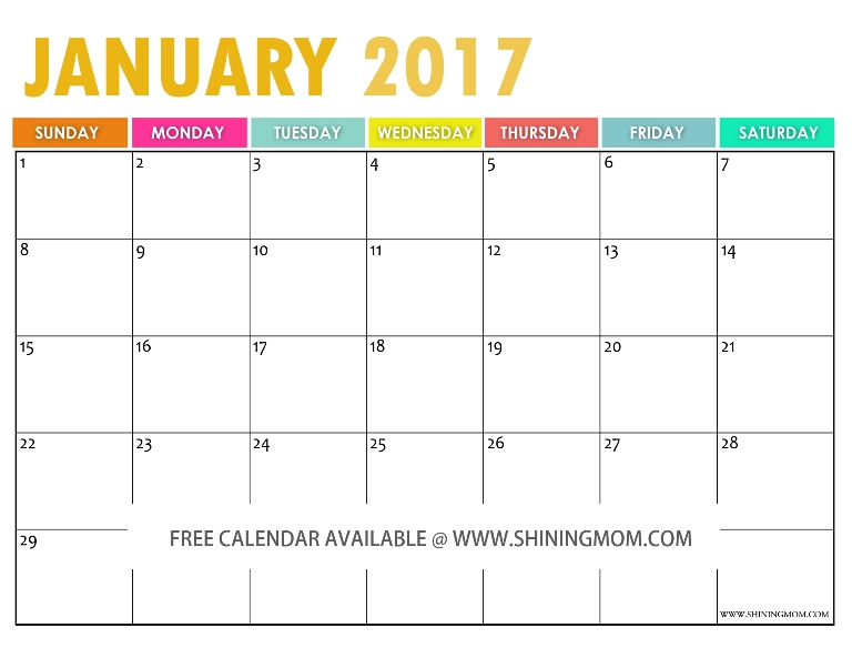 the free printable 2017 calendar by shining mom. Black Bedroom Furniture Sets. Home Design Ideas