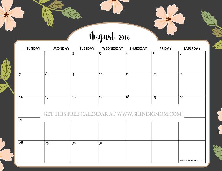 printable calendar shining mom | Printable Calendars 2017