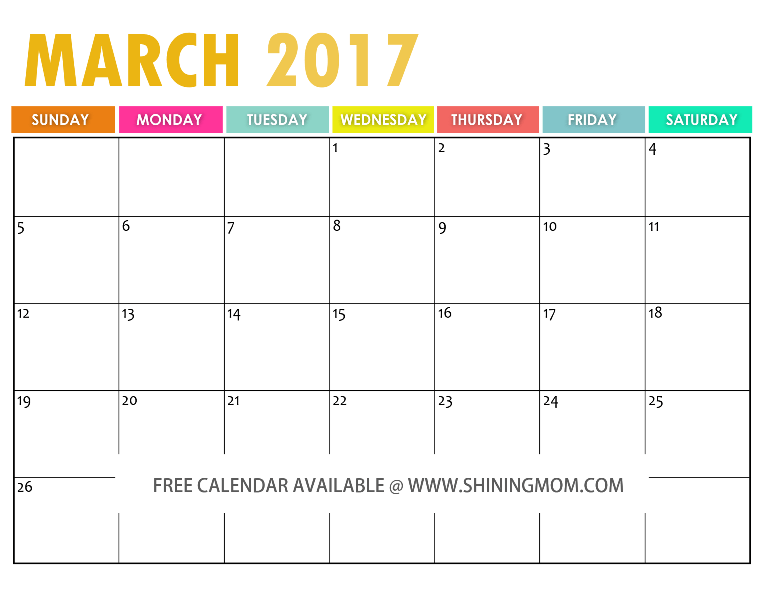 Calendar March 2017 : The free printable calendar by shining mom