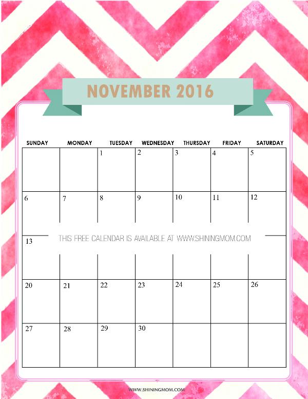 November 2016 Calendar with Notes