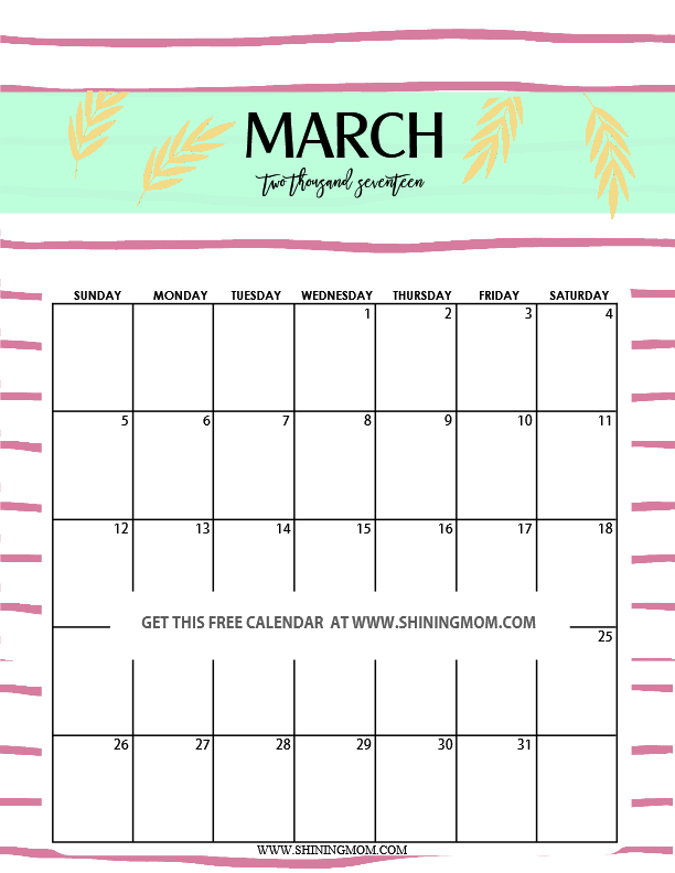 march calendar 2017 pretty | Calendar