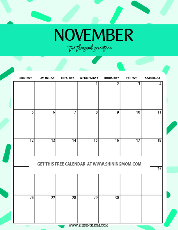 cute October calendar 2017 printable