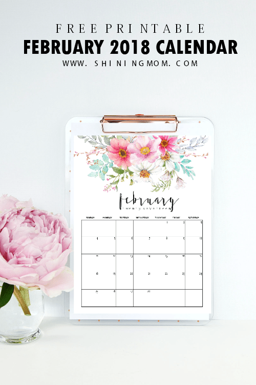 Free Printable February 2018 Calendar: 12 Amazing Designs!