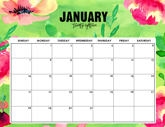 Free Printable January 2018 Calendar: 12 Awesome Designs!