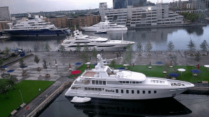 Mega-Yachts at the dock