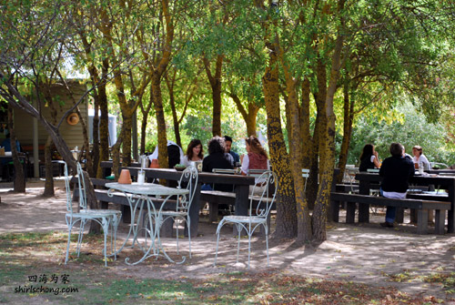 Outdoor sitting area of the cafe in lavender farm, Daylesford, VIC, Australia