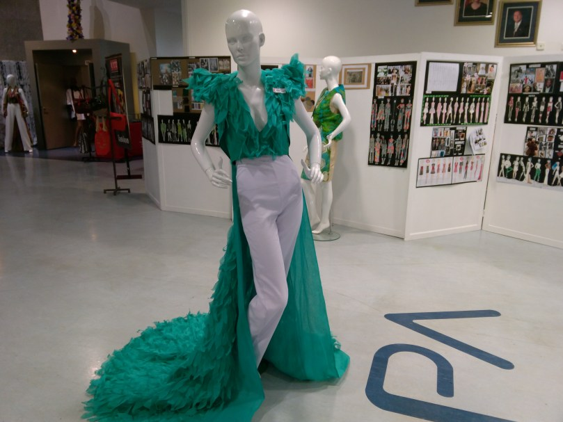 Second year Design Diploma student, Adrian Wilson created a captivating look during the exhibition held during UTT's Fashion week at NAPA.
