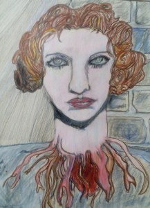 Image is of a green eyed fair skinned female presenting head. It's hair style appears to be 1920's era, and it has a mass of cords and feelers coming out of the bleeding neck.