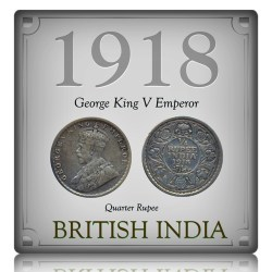 1918   1/4  Quarter Rupee George V King Emperor  Calcutta Mint - Best Buy