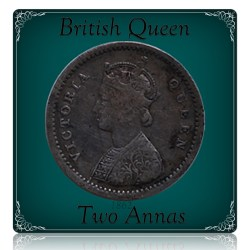 1862 British India 2 Annas Queen Victoria - RARE COIN