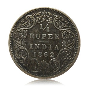1862 British India Queen Victoria Silver Quarter Rupee Coin Rare