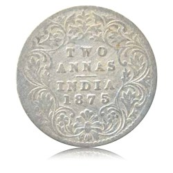 1875 2 Annas Silver Coin British India Queen Victoria Bombay Mint - RARE COIN