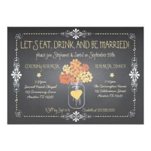 Autumn Chalkboard Wedding Invitation Card