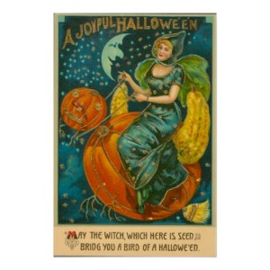 Vintage Halloween Witch Riding Jack O Lantern Bird Poster