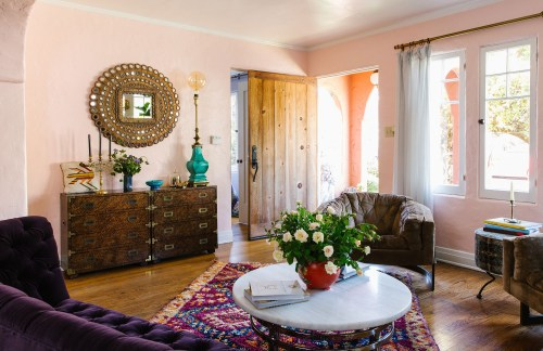 Decent Purple Velvet Couch Persian Rug Decor Inspiration Bungalow Designcalifornia Home Condo Light Baby Pink Pastel Most Living Spaces Featuring Mirrors