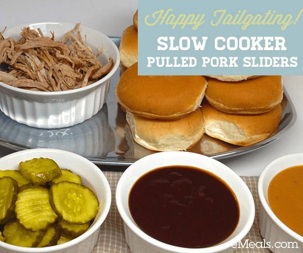 Easy Slow Cooker Pulled Pork Sliders #SuperBowl