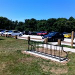 Our new eastern trailhead parking lot at Hammonasset with bike rack installed by Eagle Scout Tom O'Sullivan