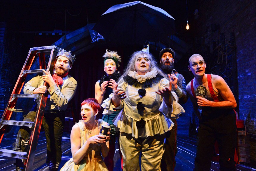 (left to right) Anthony Courser, Molly Plunk, Leah Urzendowski, Pam Chermansky, Jay Torrence and Ryan Walters in The Ruffians' 2014-15 production of BURNING BLUEBEARD by Jay Torrence, directed by Halena Kays.  Photo by Evan Hanover.