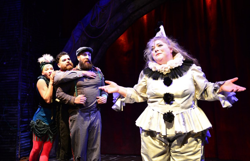 (left to right) Leah Urzendowski, Anthony Courser, Jay Torrence and Pam Chermansky in The Ruffians' 2014-15 production of BURNING BLUEBEARD by Jay Torrence, directed by Halena Kays.  Photo by Evan Hanover.