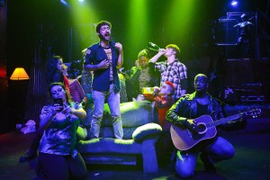 (center) Jay W. Cullen (Will) with (left to right) Dakota Hughes, Janelle Villas, Aubrey McGrath, Whitney Dottery, Luke Linsteadt (Johnny), Malic White (St. Jimmy), Steven Perkins (Tunny) and the cast/band