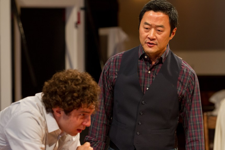 (left to right) Cast members Aaron Himelstein (Caleb Trask) and Stephen Park (Lee)