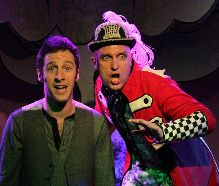 """""""World of Your Nightmares"""" (left to right) Max DeTogne and Kevin Bishop in Underscore Theatre Company's world premiere musical comedy THE STORY OF A STORY (THE UNTOLD STORY) with book and lyrics by Peter Gwinn, music by Jody Shelton and direction and choreography by Christopher Pazdernik.  Photo by Alex Higgin-Houser."""