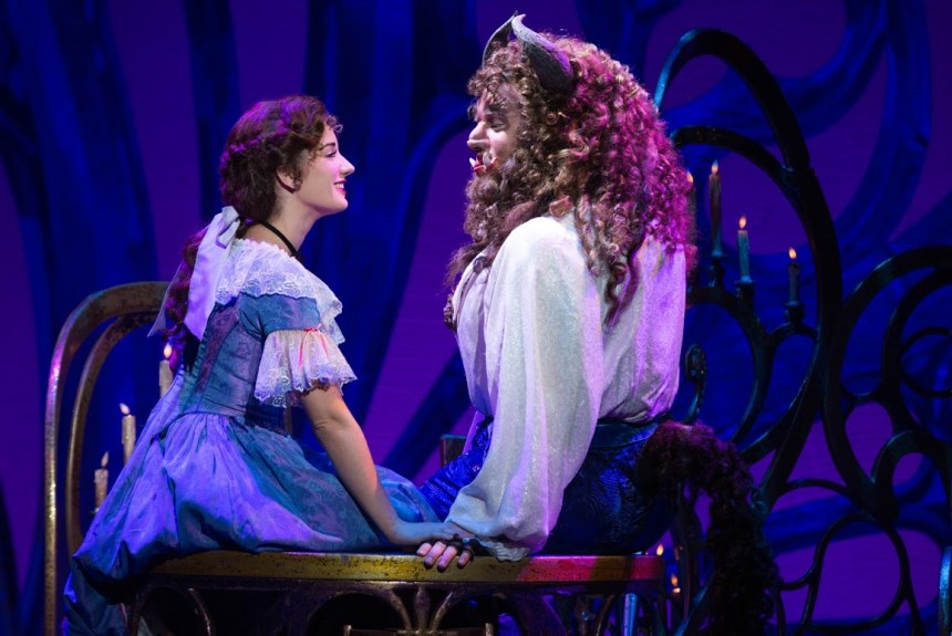 Brooke Quintana as Belle and Sam Hartley as the Beast in Disney's Beauty and the Beast.   photo by Matthew Murphy