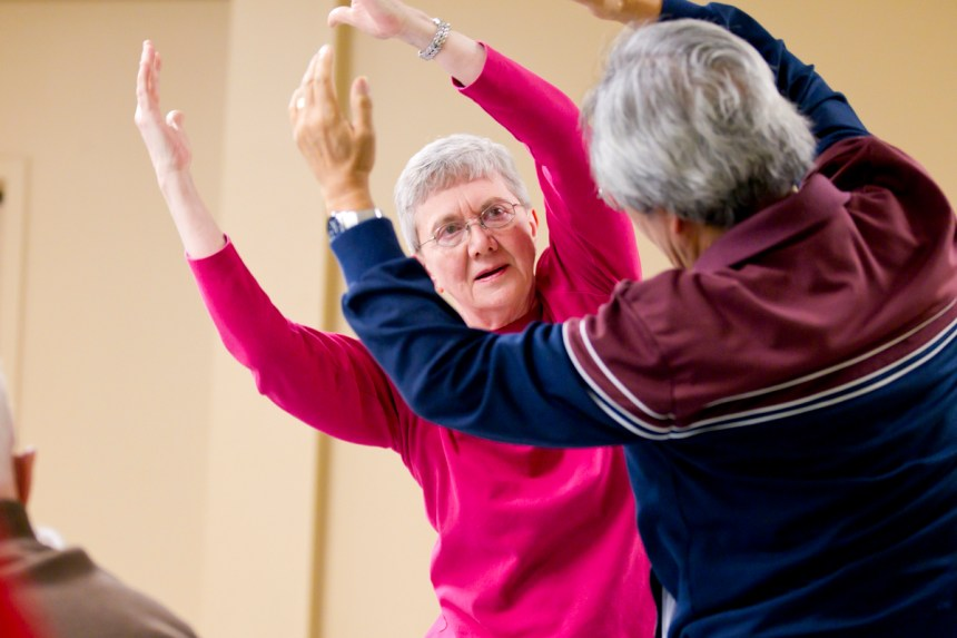 Parkinson's Project participants in class at the Hubbard Street Dance Center. Photo by Todd Rosenberg.