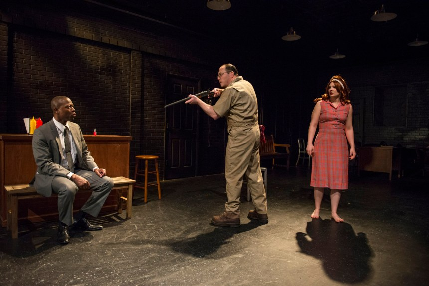 Manny Buckley, Brad Woodard and Angie Shriner in Shattered Globe Theatre's production of IN THE HEAT OF THE NIGHT, adapted by Matt Pelfrey, based on the novel by John Ball and directed by Louis Contey. Photo by Michael Brosilow.