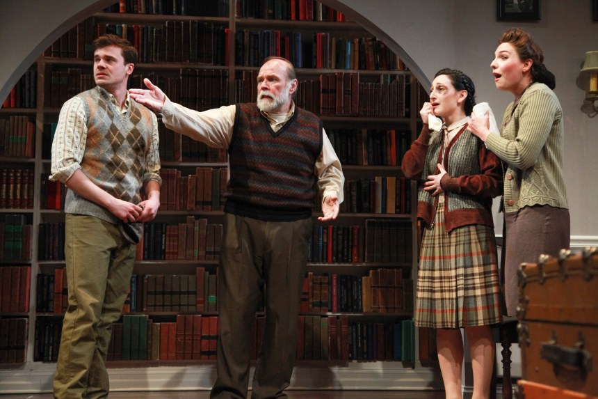 left to right) Curtis Edward Jackson, Craig Spidle, Jessica Kingsdale and Eliza Stoughton in the Midwest premiere of A SPLINTERED SOUL by Alan Lester Brooks, directed by Keira Fromm. Photo by Emily Schwartz.