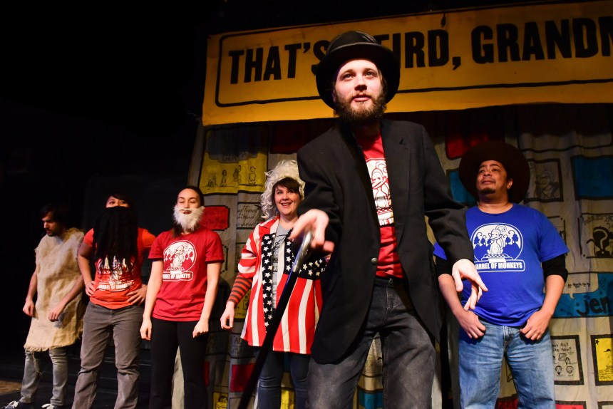 Barrel of Monkeys' company members Nick Hart, Michelle Alba, Emily Marso, Gwen Tulin, Spencer Meeks and Linsey Falls perform in THAT'S WEIRD, GRANDMA. Photo by Evan Hanover