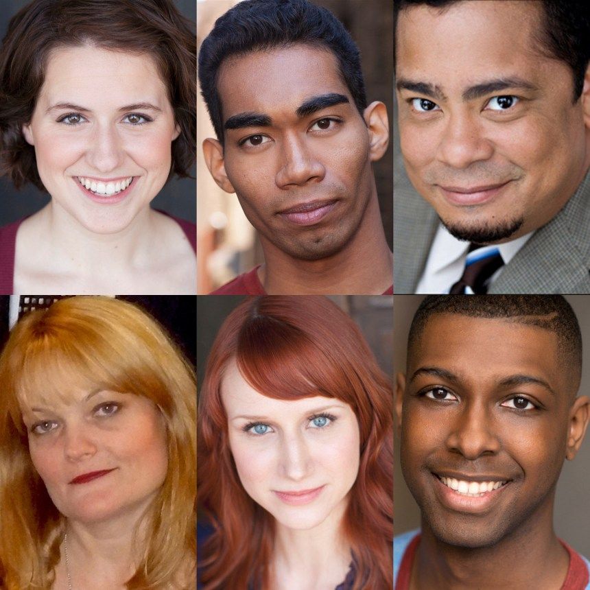 The cast of AstonRep's world premiere THE BLACK SLOT (top, l to r) Dana Anderson, Ian Voltaire Deanes and Linsey Falls and (bottom, l to r) Amy Kasper, Brittany Stock and Justin Wade Wilson