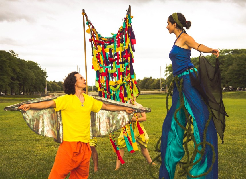 Micah Figueroa and Lucía Mier y Terán Romero in Walkabout Theater Company's outdoor performance spectacle TALL GIRL AND THE LIGHTNING PARADE, directed by Thom Pasculli. Photo by Matthew Gregory Hollis.