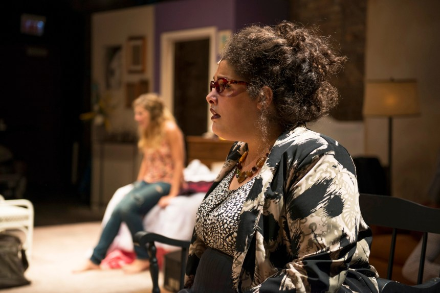 (front to back) Teressa LaGamba and Tina Naponelli in Kokandy Productions' TOMORROW MORNING, with book, music and lyrics by Laurence Mark Wythe, directed by John D. Glover and music direction by Kory Danielson. Photo by Michael Brosilow.