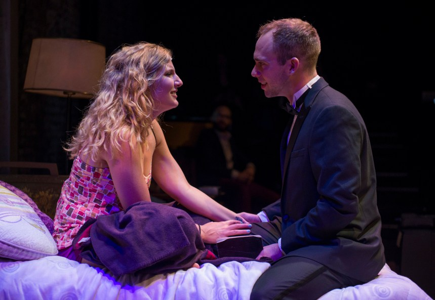 (left to right) Tina Naponelli and Neil Stratman in Kokandy Productions' TOMORROW MORNING, with book, music and lyrics by Laurence Mark Wythe, directed by John D. Glover and music direction by Kory Danielson. Photo by Michael Brosilow.
