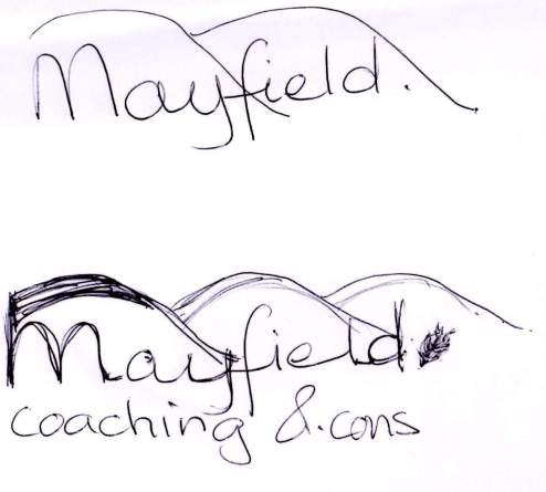 mayfield logo concept sketch, scamp
