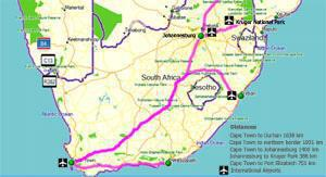Click on map to see the distances between the major towns in South Africa