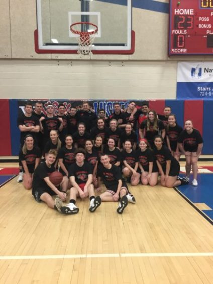 Southmoreland Varsity Cheer Squad and Basketball Teams after victory at Swishes for Wishes