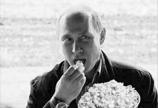 "Putin watches the latest fictional drama unfolding inside the United States – the scourge of ""fake news."""