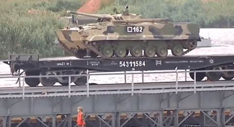 Russian tank train drill