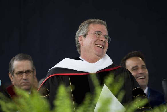 Former Florida Gov. Jeb Bush waiting to speak during the commencement ceremony at Liberty University in Lynchburg, Va., this month.
