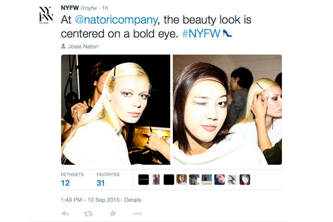 A @NYFW Twitter post from New York fashion week on Sept. 10.