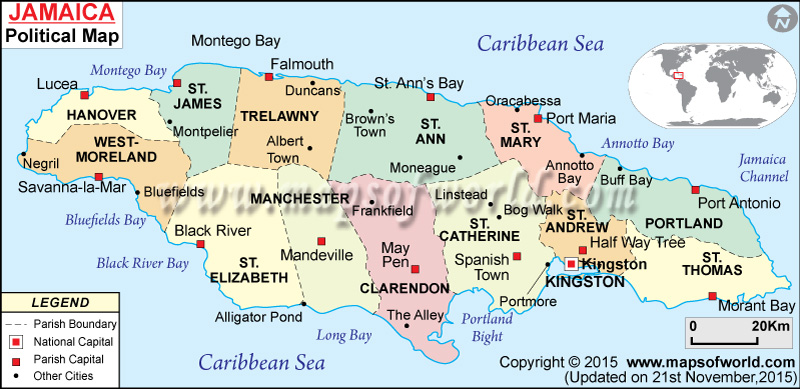 map showing jamaica