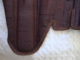 Brown Silk Renaissance Stays - Bottom Edging Detail, by Sidney Eileen