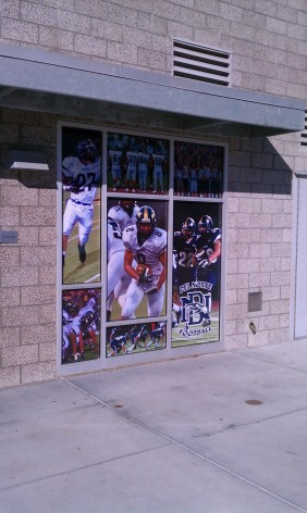 Full color printed perforated vinyl. See-though from the inside out.